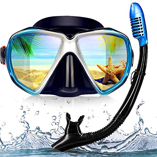 EXP VISION Snorkel Diving Mask Set, Panoramic HD Scuba Swim Mask, Tempered Anti-Fog Lens Glasses Snorkel Goggles, Scuba Dive Snorkel Mask with Silicone Skirt Strap for Dry Snorkeling, Swimming