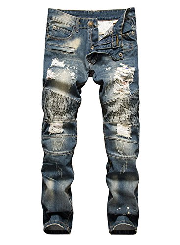 Aiyino Men's Slim Zipper Biker Jeans Moto Denim Pants (US 38, Navy Blue)