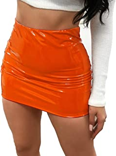 FeMereina Gonna a Vita in Pelle Luminosa Sexy da Donna, Minigonna Micro Aderente per Partywear Clubwear