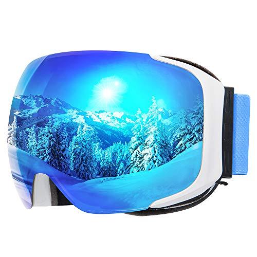 COPOZZ Polarisierte Skibrille, G2 OTG Snowboard Schneebrille gegen Blendung mit Anti-Fog Magnetischer Linse UV-Schutz Helm Kompatible Skibrille für Männer Frauen Damen Teen