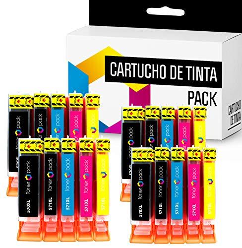 20 TONERPACK PGI 570 XL CLI 571 XL Cartuchos de Tinta Compatible para impresoras Canon Pixma MG 5750, 5751, 5752, 5753, 6850, 6851, 6852, 6853, 7750, 7751, 7752 (Pack 20)
