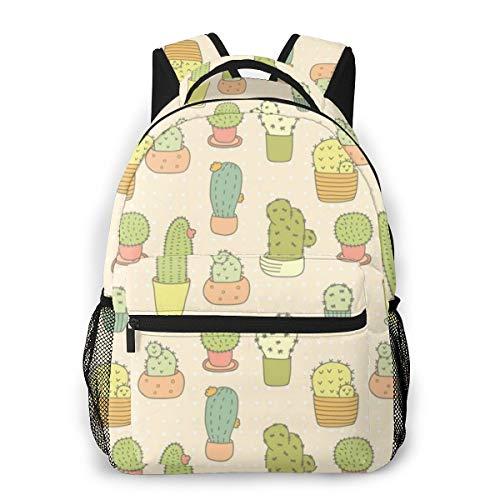 YANGPI Fashion Unisex Backpack Cute Cactus Bonsai Bookbag Lightweight Laptop Bag for School Travel Outdoor Camping