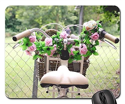 Mauspad - Sommer Frühling Fahrrad weibliche Rosen Blumen Pflanze