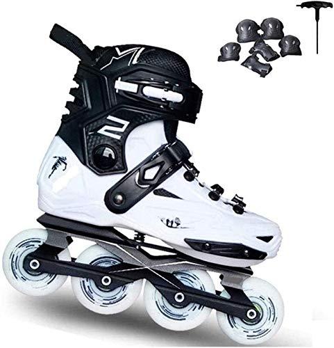 XXY Patines En Línea Ajustables Patines En Línea Slalom Profesional Slalom Patines En Línea Zapatos De Patinaje Libre De Rodillos Patines Deslizantes (Color : White, Size : 41EU)