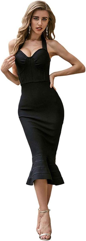 YonCog Ladies Evening Dress Halter Halter Dress Bandage Dress Mid-Length Dress Ladies Tight Skirt Women's Club & Night Out Dresses (Color : Black, Size : Medium)