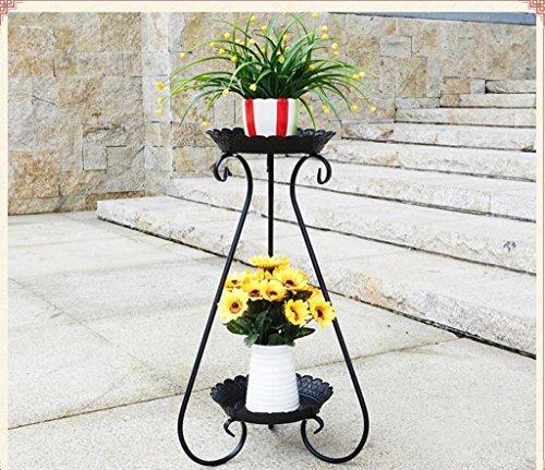 Fleur de fer européenne multicouches type de plancher salon intérieur balcon étagère de fleurs vertes Chlorophytum frame ( Couleur : Noir , taille : 44cm )