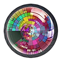ドレッサーノブハードウェアラウンドノブ、取り付けネジ付きオフィスバスルームキッチンデコレーション用引き出しプル(4個)色