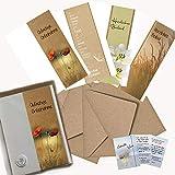 4 Trauerkarten mit Umschlag, besondere Beileidskarten mit Kraftpapierumschlägen, Kondolenzkarten im Set 10-teilig, A6 inkl. Broschüre mit Trauerspüchen