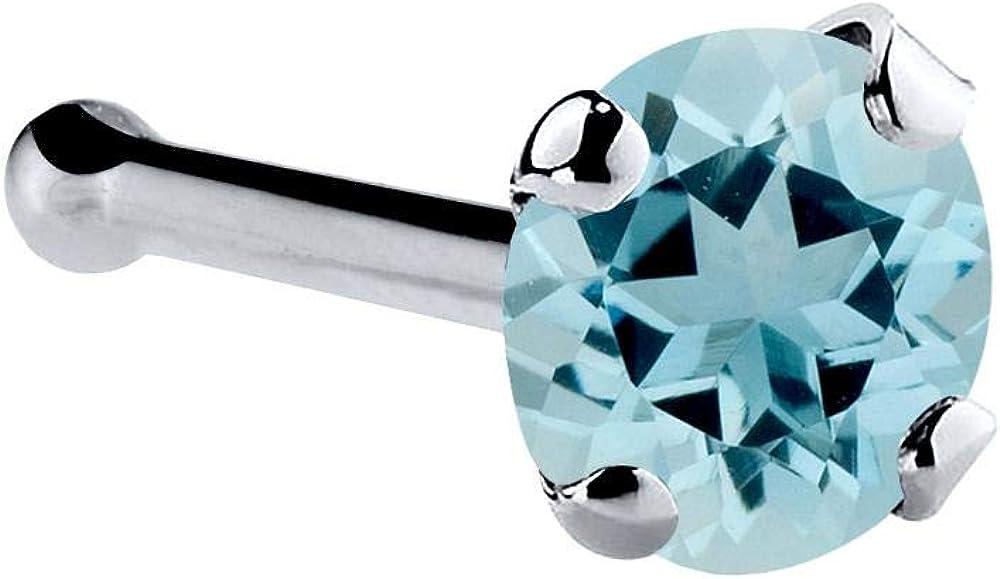 FreshTrends 14K Gold Platinum Max 74% OFF Nose 25% OFF Genuine Ring Aquamarine