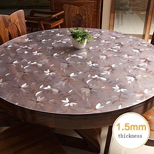 xiaowu Table Tissu étanche Anti-brûlure PVC Verre Souple Rond Fleur Tapis de Table Transparent, 1.5mm, Diameter 80cm