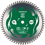 Metabo HPT 10-Inch Miter Saw/Table Saw Blade, 60T, Fine Finish, 5/8' Arbor, Large Micrograin Carbide Teeth, 5800 Max Rpm, 115435M