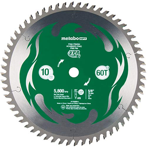 Metabo HPT 10-Inch Miter Saw/Table Saw Blade, 60T, Fine Finish, 5/8