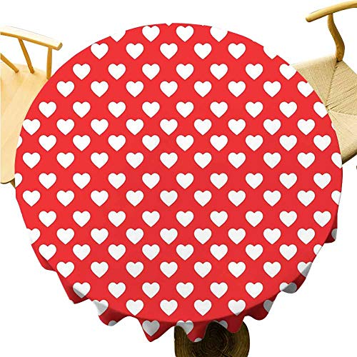 Valentines Day Tablecloth - 40 Inch Round Table Cloth Function White Hearts on Vibrant Background Love Pattern for Romantic Couples Daily use Vermilion White