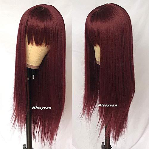 Burgundy wig with bangs _image0