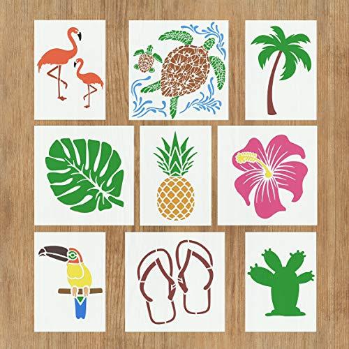 9 PCS tropischen Hawaii-Schablonen für Malerei auf Holz Boden Stoff DIY Kunsthandwerk - Flamingo Ananas Kaktus Hibiskus Blätter Palmtree Schildkröte Toucan Hausschuhe