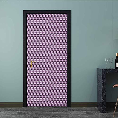 Calcomanía 3D para puerta estilo hipster, diseño de pincel, rayas de acuarela, pintura de vinilo, para reacondicionar el hogar, color blanco coral, Multi - 06, 36 x 79 Inch