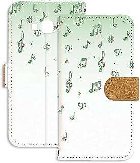 Galaxy A8 SCV32 用 スマホケース 手帳型 ミラータイプ 音符・グリーン 音楽 ポップ ペイント SAMSUNG サムスン ギャラクシー エーエイト au スタンド スマホカバー 携帯カバー FFANY music 00r_122...