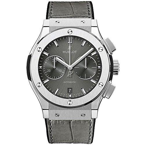Hublot Herren-Armbanduhr 45mm Armband Aligatorleder Grau Gehäuse Titan Automatik Analog 521.NX.7071.LR
