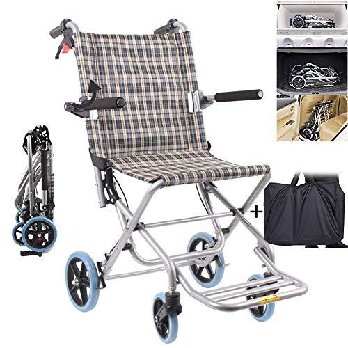 EJOYDUTY Folding Reisen Rollstuhl leichte, tragbare Boarding Chair Transport Mobilität Gerät für senioren Behinderte und Behinderte Benutzer mit Handbremse und Carring Tasche