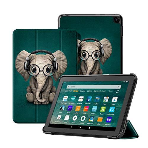 OLAIKE Custodia per Tutto nuovo tablet Kindle Fire HD 8/8 Plus(10a Generazione, 2020), Copertura del supporto a tre ante con Auto Sleep/Wake (Solo per 2020 Fire HD 8/8 Plus),L'elefante