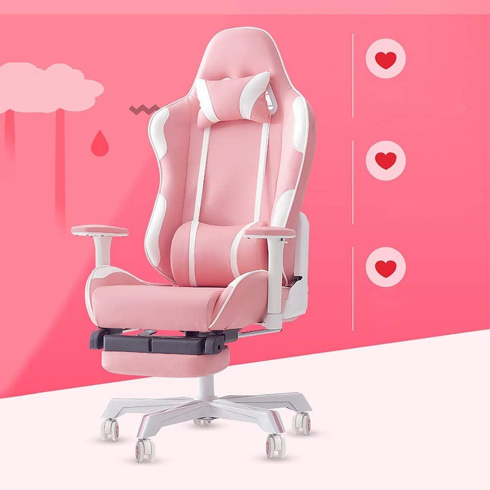 UQI Girls Home Confortable Chaise en live, PU Cuir E-Sport Jeu Ordinateur Chaise Rose Réglable 160° Chaise longue, Matériau :, Avec Footrest., size Avec Footrest.