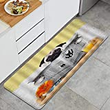 Alfombra de Cocina, Bulldog Leyendo periódico con Comidas...