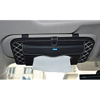 NIKAVI Double-Deck Auto Car Visor CD/DVD Bag Storage Holder/Tissue Paper Holder (White LINE)