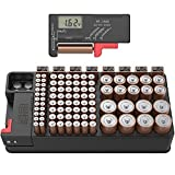 Battery Organizer Storage case with Tester can Hold 110 Battery Various Sizes for AAA, AA, 9V, C and D Size and Digital Battery Tester