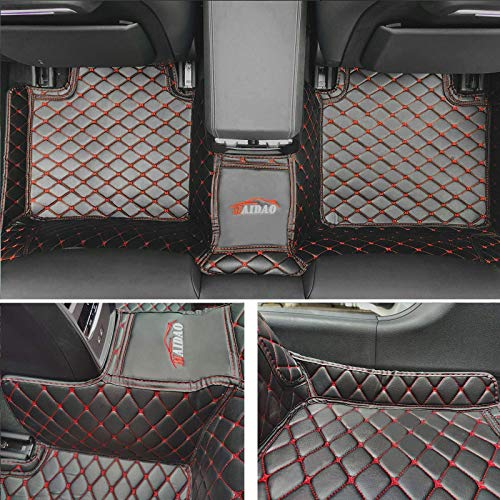 8X-SPEED Custom Car Floor Mats for Volvo XC90 7-Seats 2015-2019 Full Coverage All Weather Protection Waterproof Non-Slip Leather Liner Set Black Beige