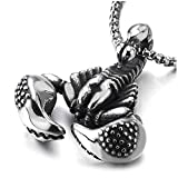 COOLSTEELANDBEYOND Gothic Vintage Mens Stainless Steel Scorpion King Claw Pendant Necklace 30 inches Wheat Chain