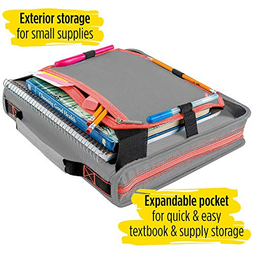 Five Star 2 Inch Zipper Binder, 3 Ring Binder, Expansion Panel, Durable, Gray/Bright Coral (29052IY8) Photo #4
