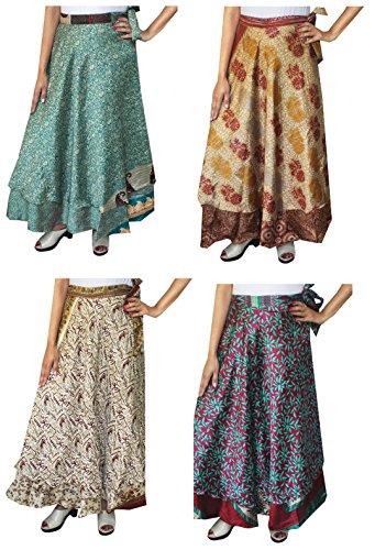 Wholesale 4 PC-Los Der Frauen Indischen Sari Magie Wrap Around Langer Rock