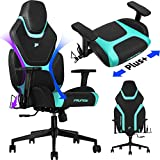 FAUNOW High Back PU Leather Adjustable Swivel Rolling Massage Chair E-Sports Racing Style Reclining Office Chairs with Headrest and Lumbar Support Big-Tall Ergonomic Computer Gaming Chair for Adults