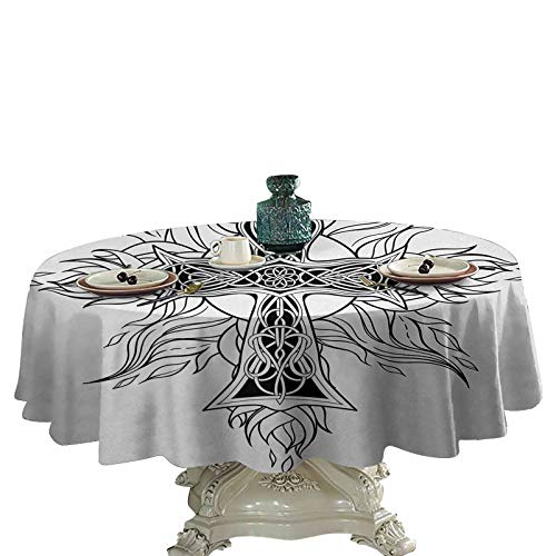 Celtic Table Cover Gothic Image in Celtic Style Flames of Fire Simplistic Traditional Timeless Pattern Spill-Proof Oil-Proof Microfiber Table Cover 36 inch