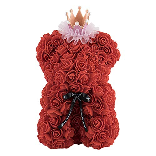 Yalatan Lindo oso de peluche rosa artificial, flor de rosa para siempr