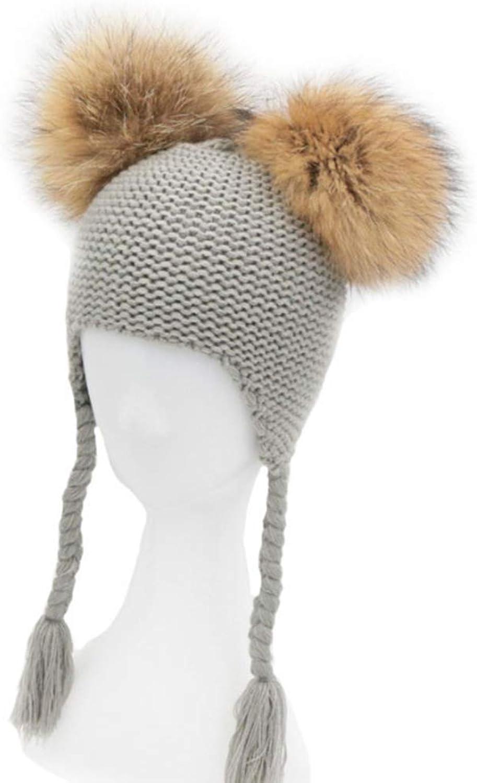 Baby Boy Girl Double Pompom Hat Winter Knit Warm Hat