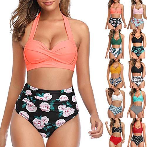 Briskorry Women's Swimwear Push Up Bikini Set Split Swimsuit Large Sizes Halter Neck Triangle Top High Waist Two Piece Beachwear Sport Split Flowers Bikini Bottoms medium yellow