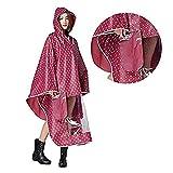 Hombre Mujer Capa lluvia impermeable Poncho impermeable con capucha Epais ropa abrigo impermeable Raincoat EVA ambiental con espejo diseño punto para Camping Scooter bicicleta moto marca travailler