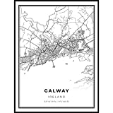 A SOPHISTICATED BLACK AND WHITE MAP OF GALWAY. This print looks gorgeous when framed on a wall and is suited to both modern and classical homes. PRINTED ON 175 GSM FINE ART PAPER. Museum-quality poster made on thick, durable, matte paper. MADE TO ORD...