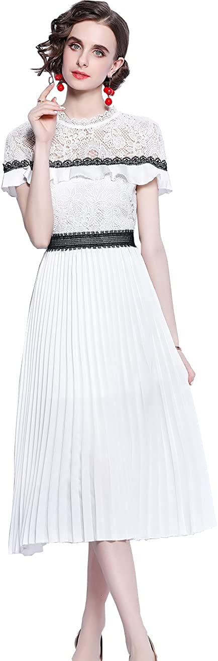 HAOKEKE Women Summer White Lace Dress for Party Ceremoney Lady Pleated Maxi Lace Dress