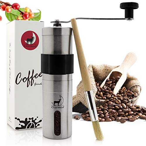 Garmol Manual Coffee Grinder, Portable Whole Bean Conical Burr Mill with Brushed Stainless Steel Body, Compatible for AeroPress, French Press, Handheld Mini, K Cup