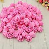 Inicio 100pcs / Set Artificial Rose Flowers Mini PE Espuma Rose Flor Cabeza Hecha a Mano DIY Boda decoración del Hogar Fiesta Festiva Suministros