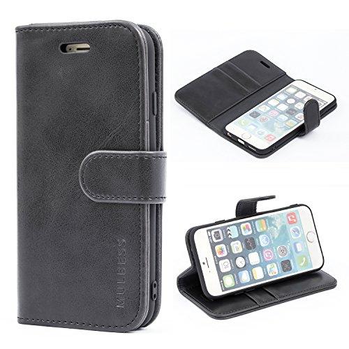 Mulbess Handyhülle für iPhone 6s Hülle Leder, iPhone 6s Handy Hüllen, Vintage Flip Handytasche Schutzhülle für iPhone 6 / 6s (4.7 inch) Case, Schwarz