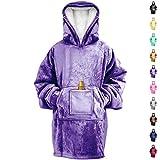 RONGO Oversized Sweatshirt Hoodie Blanket for Men, Women & Kids – Double-Sided with Sherpa & Plush Fleece Lining (Purple)
