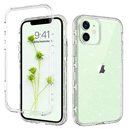 GUAGUA Compatible with iPhone 12 Pro/12 Case 6.1-inch 5G Clear Glitter Sparkle Bling Shiny 3 in 1 Hybrid Cover for Women Girls Shockproof Protective Phone Cases for iPhone 12 Pro/12 2020 Transparent