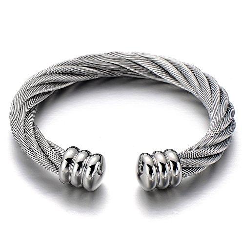 COOLSTEELANDBEYOND Große Elastische Verstellbare-Edelstahl Herren-Armband Damen-Armband Verdrehten Stahlkabel Armreif