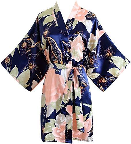 Floral Satin Bridal Robe Silk Bridesmaid Robes Bridal Party Robe Dressing Gown Wedding Gifts Navy Blue