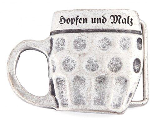 Goodman Design ® Herren Gürtelschnalle Biertrinker silber - Bierkrug Maß Hopfen und Malz - Geschenk Idee Tracht Trachtler Geburtstag