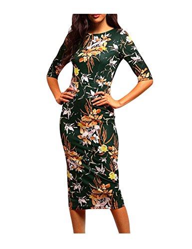 Bestgift dames elegante bloemen-wijnoogst-print potloodjurk Midi jurken avondjurk casual jurken donkergroen Aisa (MEU S)