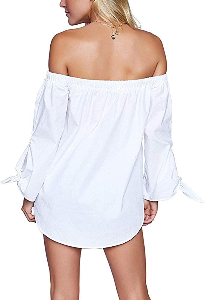 Kaigenina Womens Long Sleeve Blouse Strapless Off Shoulder Strapless Top